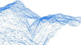 Abstrakt enkelt blått vinkande raster 3D eller ingrepp som futuristisk cyberspace Blått geometriskt vibrerande miljö eller pulser stock illustrationer