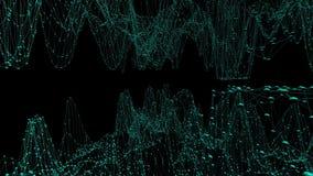 Abstrakt enkelt blått vinkande raster 3D eller ingrepp som hypnotiserar miljö Blått geometriskt vibrerande miljö eller pulserar vektor illustrationer