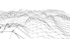 Abstrakt enkelt svartvitt vinkande raster 3D eller ingrepp som dekorativ miljö Grå geometrisk vibrerande miljö arkivfilmer
