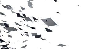 Abstrakt enkelt svartvitt vinkande raster 3D eller ingrepp som elegant bakgrund Grå geometrisk vibrerande miljö eller arkivfilmer