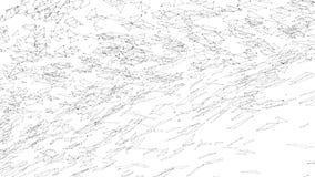 Abstrakt enkelt svartvitt vinkande raster 3D eller ingrepp som livlig miljö Grå geometrisk vibrerande miljö eller stock video