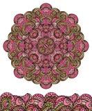 Abstrakt etnisk mandala, sömlös gräns gulligt Royaltyfri Bild