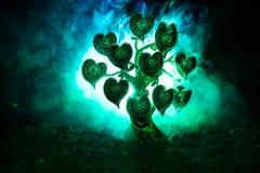 Abstrakt fält med trädet och hjärtor på det bak mörk dimmig tonad himmel Förälskelseträd av drömmar valentinbegreppsbakgrund Royaltyfria Bilder