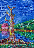 abstrakt fältoljemålning Arkivfoto