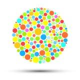 Abstrakt färgcirkel med kulöra cirklar på vit bakgrund Royaltyfri Fotografi