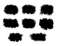 Abstrakt färgpulver plaskar svarta former som isoleras på en vit backgroun Arkivbilder