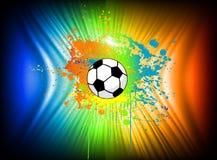 Abstrakt färgpulverbakgrund med fotbollbollen. Vektor Arkivbild