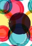 Abstrakt färgrik bakgrund för cirkelvattenfärgborste, vektorhav Royaltyfri Bild
