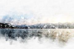 Abstrakt färgrik bakgrund för målning för bergvattenfärgillustration vektor illustrationer