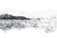 Abstrakt färgrik bakgrund för målning för vattenfärg för bergmaximum royaltyfri illustrationer
