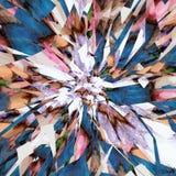 Abstrakt färgrik bakgrund från lysande linjer och grus, splittrar stock illustrationer
