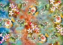 Abstrakt f?rgrik bakgrund med den h?rliga blomman vektor illustrationer