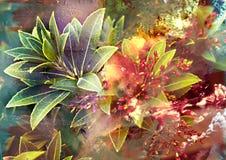 Abstrakt färgrik bakgrund med växten, abstrakt naturlig struktur, höstbuskeväxt, hösttema, mystisk abstrakt backgro Fotografering för Bildbyråer