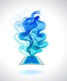 Abstrakt färgrik bakgrundsboksymbol och våg Royaltyfri Fotografi