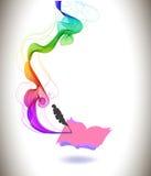Abstrakt färgrik bakgrundsboksymbol och våg Royaltyfri Foto
