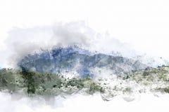 Abstrakt färgrik bergkulle på vattenfärgmålningbakgrund vektor illustrationer