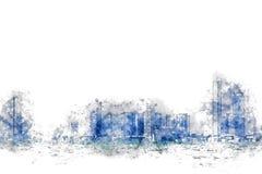 Abstrakt färgrik byggnad i staden på vattenfärgillustration vektor illustrationer