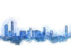 Abstrakt färgrik byggnad i staden på vattenfärgillustration royaltyfri illustrationer