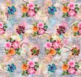 Abstrakt färgrik digital bakgrund med klassiska blommor stock illustrationer