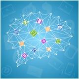 Abstrakt färgrik illustration med sociala symboler royaltyfri illustrationer