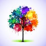 abstrakt färgrik illustrationtree Arkivbild