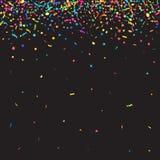 Abstrakt färgrik konfettibakgrund Isolerat på svart Vektorferieillustration Royaltyfria Bilder
