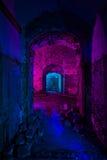 Abstrakt färgrik ljus målning i övergiven sovjetisk bunker stift Royaltyfria Foton