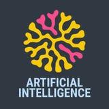 Abstrakt färgrik logo konstgjord intelligens Smarta nya tekniker och innovationbegrepp - idérik logodesign Arkivbild