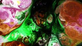 Abstrakt färgrik målarfärgfärgpulverflytande exploderar rörelse för diffusionsPshychedelic tryckvåg lager videofilmer