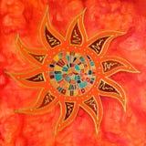 abstrakt färgrik målningssun Royaltyfri Foto