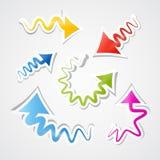 Abstrakt färgrik pappers- piluppsättning vektor illustrationer