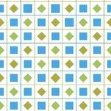Abstrakt färgrik sömlös geometrisk bakgrund för kontrollvektormodell med diamanten och fyrkantiga former för tyg royaltyfri illustrationer