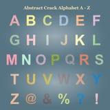 Abstrakt färgrik sprickaalfabetversal A - Z som är uppercase Arkivbilder