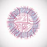 Abstrakt färgrik teknologiillustration för vektor med rundablått Royaltyfria Bilder