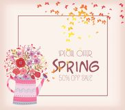 Abstrakt färgrik vårbakgrund med fjärilen och blommor Royaltyfria Foton