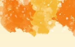 Abstrakt färgrik vattenfärg, orange bakgrund Royaltyfri Fotografi
