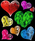 abstrakt färgrika hjärtor Arkivfoton