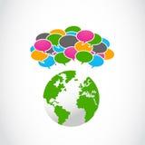 Abstrakt färgrikt anförande bubblar med jordklotsymbol Arkivbilder