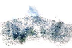 Abstrakt färgrikt berg och fältlandskap på vattenfärg stock illustrationer