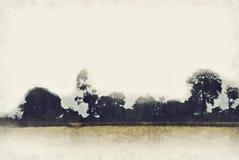Abstrakt färgrikt berg och fältlandskap på vattenfärgmålningbakgrund stock illustrationer
