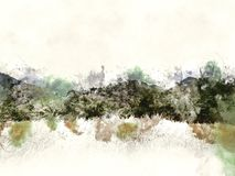 Abstrakt färgrikt berg på vattenfärgmålningbakgrund vektor illustrationer