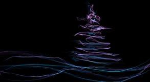 Abstrakt f?rgrikt fractaljultr?d med v?gen i violett och bl? f?rg p? svart royaltyfri illustrationer