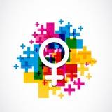 Abstrakt färgrikt kvinnligt genussymbol Arkivbild
