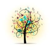 Abstrakt färgrikt musikaliskt träd Royaltyfria Bilder