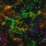 Abstrakt färgrikt universum, stjärnklar himmel för nebulosanatt, flerfärgad yttre rymd, galaktiskt texturbakgrund, sömlös illustr Royaltyfri Bild