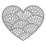 Abstrakt förälskelsehjärta med prydnaden av cirklar Sida för färgläggningboken, hälsningkort Modell för valentindag Royaltyfria Bilder