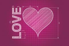 Abstrakt förälskelsehjärtaritning, rosa bakgrund, klottrad stil royaltyfri illustrationer
