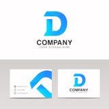 Abstrakt för bokstavssymbol för blått D design för vektor för tecken för logo för företag Arkivfoton