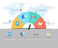 Abstrakt för informationsdiagram om affär mall med symboler också vektor för coreldrawillustration Royaltyfri Bild