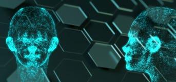 Abstrakt för Mesh Of Human Head On för nätverksanslutning bakgrund sexhörning vektor illustrationer